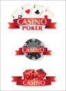 Cards chips dice poker casino icon Stock Image