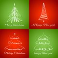 Cards with christmas trees Royalty Free Stock Photo