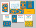 Cards collection, delicate geometric stars pattern. Vector background. Business Card or invitation. Vintage decorative elements. H Royalty Free Stock Photo
