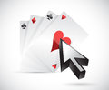Cards and cursor illustration design over a white background Royalty Free Stock Image