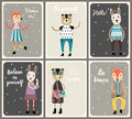 Cards with cute fashion animals set in scandinavian style.