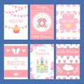 Cards with funny illustrations for kids. Little princess and fairy tale symbols