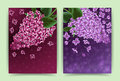 Cards with lilac flowers