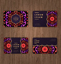 Cards with mandala. Round Ornament Pattern. Islam, Arabic, India