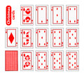 Cards Poker Set Christmas icons. color red diamond. Santa claus, girl and elf - just schematically, uniformly. Illustration