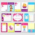 Cards, sticky notes, stickers, labels, tags, with cute princess characters. Template for kids scrapbook, invitations. Stationery f