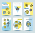 Cards with tropical fruits in memphis style. Design for party, i
