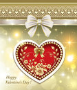 Cards for valentines day with the original heart a card hearts decoration golden flowers and pearls Stock Images