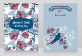 Cards for wedding with blooming tree branches and sitting swallow Royalty Free Stock Photo