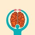 Care brain idea with hands - illustration