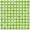 100 care icons hexagon green
