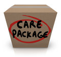Care package cardboard box words support emergency aid the on a to illustrate assistance and supplies for a victim of a crisis Stock Photos
