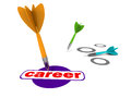 Career achievement concept dart hitting career graphic against white background Stock Photos