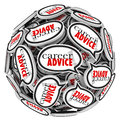 Career advice speech bubble sphere job work tips words in bubbles arranged in a ball or to illustrate or instruction for seeking Stock Photography