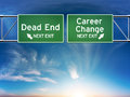 Career change or dead end job concept road signs showing your choice in path Stock Image