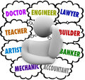 Career choices thought clouds thinker wondering occupation a surrounded by full of job ideas such as teacher lawyer mechanic Stock Photos