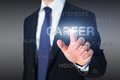 Career concept business man and touch screen Stock Image