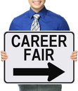 Career fair a man holding a poster Royalty Free Stock Photo