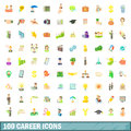 100 career icons set, cartoon style Royalty Free Stock Photo