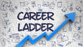 Career Ladder Drawn on Brick Wall.