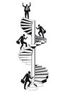 Career ladder figure of a man climbing a spiral staircase on his way up the Royalty Free Stock Image