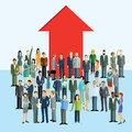 Career promotion and advancement colorful illustration a crowd of smartly dressed characters men women with a large red arrow in Royalty Free Stock Photo