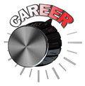 Career volume knob turned to highest level to succeed a black or dial all the way the position with the word over it as a metaphor Stock Image