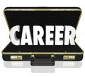 Career word black briefcase new job working position in a leather to illustrate on a or starting a change in such as Stock Photography