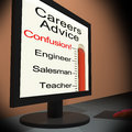 Careers advice on monitor showing guidance and counseling Stock Images