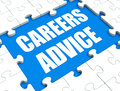 Careers advice puzzle shows employment guidance advising and ass showing assistance Stock Photography