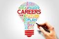 Careers bulb word cloud business concept Stock Photos