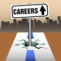 Careers plate abstract colorful background with a with the text coming out from a crack in the middle of a road Royalty Free Stock Photography