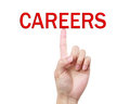 Careers word on the top of index finger Royalty Free Stock Photo