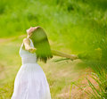Carefree attractive girl in field Royalty Free Stock Photos