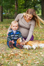 Carefree family scene in autumn park pregnant women with little son and pet walk Royalty Free Stock Images