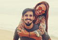 Carefree hippie love couple in vintage summer style