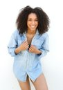 Carefree young black woman laughing portrait of a on white background Royalty Free Stock Image