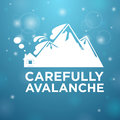 Carefully avalanche on house blue background Stock Photography