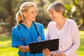 Caregiver senior patient caring and outdoors Stock Image