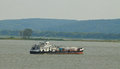 Cargo boat the on river volga in russia at summer shallow dof Royalty Free Stock Images