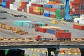 Cargo container in port and truck Royalty Free Stock Photo