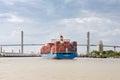 Cargo Container Ship Approaching Port of Savannah, GA