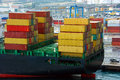 Cargo container ship in the sea port Stock Photos