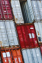 Cargo container slant open door these containers are stacked with the top one Royalty Free Stock Photography