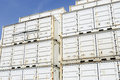Cargo containers on dockside white transport with blue sky Royalty Free Stock Images