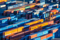 Cargo containers many colourful ready to trade in barcelona terminal Stock Photo