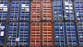 Cargo containers stacked color at port Stock Photography