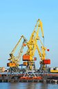 Cargo crane and train freight in port Royalty Free Stock Image