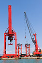 Cargo Cranes at Port Royalty Free Stock Photography