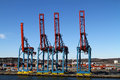 Cargo cranes at a terminal in gothenburg sweden Royalty Free Stock Photos